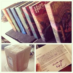 I finally ordered all the Harry potter books in hardcover (used and GREAT condition) for only $50 and they came in this parcel which totally reminded me of the way owls deliver mail from home at Hogwarts :D and the seller wrote such a courteous note! Best purchase ever, it feels so magical to have them on my bookshelf o-o *mischief managed*