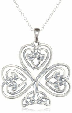 """Amazon.com: Sterling Silver Oxidized Celtic Heart Knot Clover Pendant Necklace, 18"""": Jewelry"""