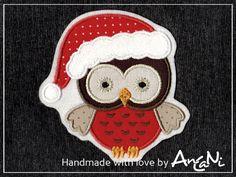 Aufnäher Weihnachtseule ♥ Eule ♥ Weihnachten von AnCaNi auf DaWanda.com