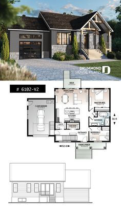 2 bedroom ranch style house plan with garage, pantry, kitchen island and open floor plan concept