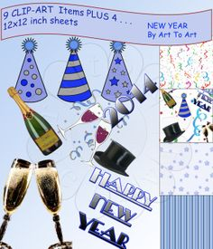 For all those that are ready for Christmas - here's something to work on for NEW YEAR'S - All those marvellous card makers can get - ready - set - go. Printable NEW YEAR clip art ORIGINAL Digital collage by ArtToArt, $3.25