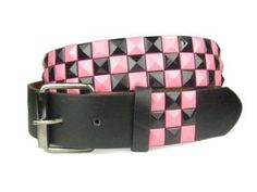 Snap On Punk Rock Black & Pink Star Studded Checker Board Pattern Leather Belt
