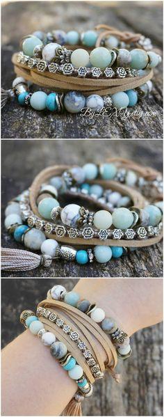 "Set of 3 Boho ""Low Tide"" Wrap Stretch Bracelets, Bohemian Hippie Gypsy Chic Nature Earthy Floral Stack Bracelets"