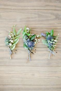 Trio of Thistle and Greenery Boutonnieres. Modern thistle and greenery boutonnieres, created by Gypsy Floral.