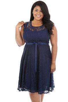 Navy Blue Lace Plus Size Maternity Dress