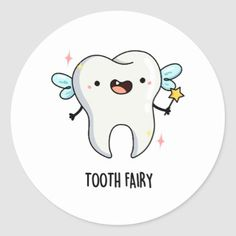 Shop Tooth Fairy Cute Tooth Pun Classic Round Sticker created by punnybone. Origami Bookmark, Origami Art, Origami Boxes, Origami Flowers, Tooth Fairy Pictures, Cute Tooth, Teeth Pictures, Pun Gifts, Dollar Bill Origami