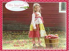 Sweet Apple Frock girls dress pattern sizes 1 - 8