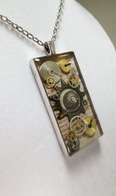 Tan and Red Industrial Chic Watch Parts Resin Jewelry Pendant on Etsy, $25.00