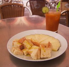 Manchego cheese served with cubes of bread grizzled with heavy Spanish olive oil and a refreshing Gazpacho on ice (yes, in Spain gazpacho is pureed super smooth and served on ice in a glass)........Cordoba, Spain 2011