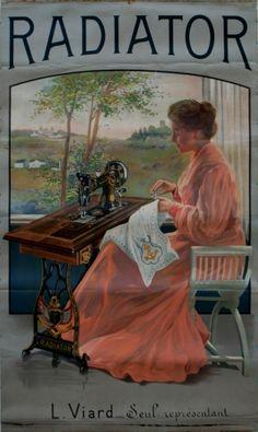 Radiator sewing machines, - original vintage poster listed on… Vintage Labels, Vintage Ephemera, Vintage Cards, Vintage Postcards, Vintage Magazines, Treadle Sewing Machines, Antique Sewing Machines, Vintage Sewing Patterns, Couture Vintage