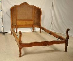 "Carved French Style Bed with Caned Headboard, 45"" between rails, $499"