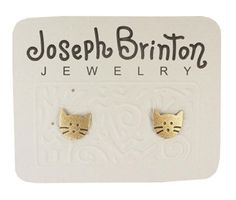 Joseph Brinton Brass Tiny Cat Face Post Earrings 5046-B by Joseph Brinton -- Awesome products selected by Anna Churchill