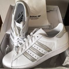 New! Adidas Superstar Metallic Silver and White 8 I bought these custom  made for myself b9884bd742f