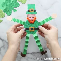 This paper leprechaun craft is fun to make for St Patrick's Day! Use our free printable template to make this easy leprechaun craft too. Holiday Crafts For Kids, Paper Crafts For Kids, Projects For Kids, Leprechaun, Toddler Crafts, Preschool Crafts, St Patricks Day Crafts For Kids, St. Patricks Day, Craft Ideas