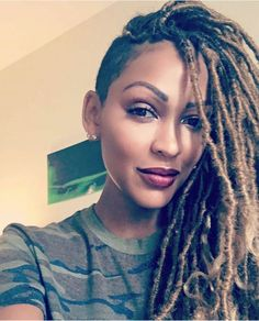 Here is Meagan Good Braids Pictures for you. Meagan Good Braids watch how to get meagan goods goddess faux locs. Shaved Side Hairstyles, Faux Locs Hairstyles, My Hairstyle, Braids With Shaved Sides, Curly Hair Styles, Natural Hair Styles, New Hair Do, Girls Braids, Hair Inspiration