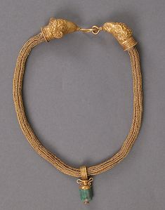 Gold Necklace with Amphora (Vase) Pendant Date: 4th century Geography: Made in, Alexandria, Egypt Culture: Byzantine Medium: Gold