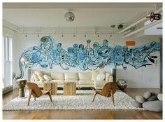 Graffiti in your home.  #interiordesign #home #living #interior #homedeco #homeiswheretheheartis #graffiti