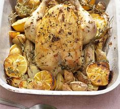 Bring the pan straight to the table and use the juices to make a light, lemony gravy for the perfect summer roast