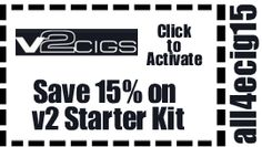Coupon Code all4ecig will Save you 15% on V2 Starter Kit purchase http://iknowecigs.com/recommends/v2-cigs