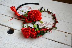 Купить Веночек из цветов - Ободки с цветами, ободок с розами, венок из роз, венок с розами
