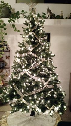 Christmas Holidays decorations ideas DIY: Crisscross Ribbon on Your Christmas Tree for This Elegant Look Elegant Christmas Trees, Crochet Christmas Trees, Ribbon On Christmas Tree, Colorful Christmas Tree, Christmas Tree Themes, White Christmas, Xmas, Christmas Holidays, Christmas Ideas