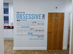 Typography wall graphics to enhance your workspace walls. http://www.vinylimpression.co.uk/pages/custom-wall-stickers