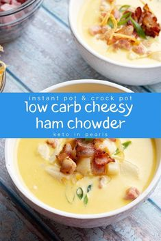 Have leftover holiday ham to use? This easy and budget friendly low carb ham chowder is just what you need! It has less than 7 net carbs per cup and is crazy delicious! Add this keto friendly soup recipe to your list of dinner ideas this week! Low Carb Recipes, Soup Recipes, Healthy Recipes, Dinner Recipes, Salad Recipes, Banting Recipes, Chowder Recipes, Cream Recipes, Lunch Recipes