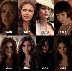 katherine pierce through the years on the vampire diaries! applause to nina dobrev for portraying such a complex character.