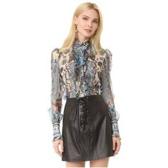 Roberto Cavalli Long Sleeve Blouse ($1,315) ❤ liked on Polyvore featuring tops, blouses, blue, long sleeve tops, long sleeve ruffle blouse, sheer long sleeve blouse, metallic top and see through blouse