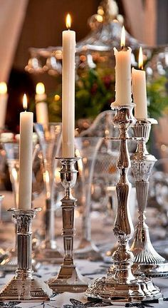 Polished Silver Candlesticks Sparkling In Candle Light,  ** Romantic..........