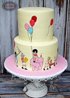 """Children On Parade"" hand painted 1st birthday cake by Karens Kakes"