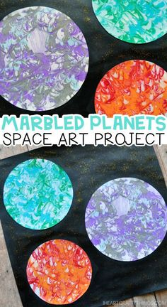 Replicate the surface of planets with this preschool space craft using a unique marbled painting technique! Replicate the surface of planets with this preschool space craft using a unique marbled painting technique to create this beautiful artwork! Space Crafts Preschool, Space Activities For Kids, Art Activities, Planets Preschool, Preschool Painting, Outer Space Crafts For Kids, Kids Paint Crafts, Art Crafts For Kids, Preschool Art Lessons
