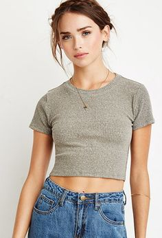 Ribbed Knit Crop Top   Forever 21 - 2002246986