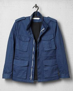 Blue M65 jacket by Micah Cohen- I like that the blue tones down the militaristic feel of a standard field jacket.