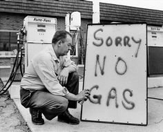 Leon Mill spray-paints a sign outside his Phillips 66 station in Perkasie, Pa., in 1973 to let his customers know he's out of gas. An oil crisis was the culprit, squeezing U. businesses and consumers who were forced to line up for hours at gas stations. Before I Forget, I Remember When, My Childhood Memories, My Generation, Gas Station, My Memory, The Good Old Days, Back In The Day, No Time For Me