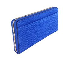Kate Spade Elisie Street Exotic Leather Neda Continental Zip Wallet, Orbital Blue  Sleek and striking in embossed snakeskin this continental wallet zips around to stow train tickets, movie stubs, and all the cash or credit you'd ever need to carry in its plentiful pockets and slots. Continental wallet crafted in matte snake embossed leather. kate spade new york signature staple. Back exterior slip pocket Zip around closure. center zip change pocket, 3 bifolds, 12 credit card slots 4″..