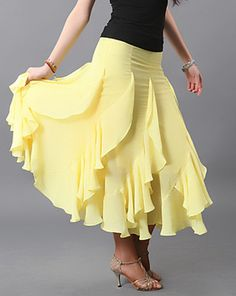 women dancewears ballroom dance skirt Long skirt Yellow Chiffon | eBay