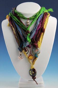 Silk Sari Strands with Pendant  Plum and Gold