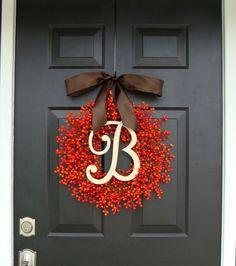 Etsy…Fall Berry Monogram Wreath ElegantWreath, $85.50