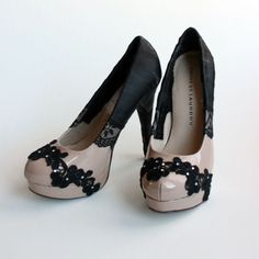 easy diy ... These heels are named All Laced Up and are definitely a twist to your everyday pump! This is a nude colored platform pump with black ribbon that braids up the back of the shoe with bits of lace on the side and front of the shoe. Rhinestones are added to accent the lace over the toe. The heel is 5.5in