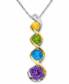 Add a citrus splash of color to your neckline. Swirl-shaped pendant features round-cut citrine (1/6 ct. t.w.), peridot (1/4 ct. t.w.), blue topaz (5/8 ct. t.w.), and amethyst (3/4 ct. t.w.). Set in sterling silver and 14k gold.