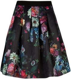 TED BAKER Black Flowtii Oil Painting Printed Skirt❤️