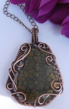 Wire Wrapped Pendant Necklace, Dragon Vein Agate and Copper, Handmade Wire Weaved Jewelry