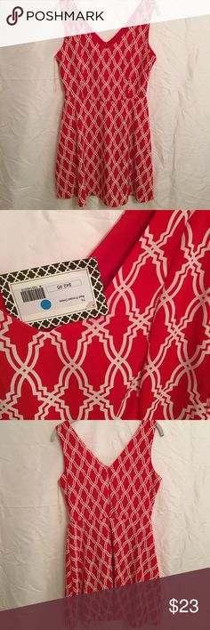 "Game Day NWT Dress Adorable red & white game day dress. NWT. Lined skirt. Polyester. Back zipper. Size small. Length 34.5"" bust 17.5 waist 14.5 gentle a line. Super cute!! Peach Love California Dresses"