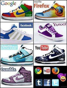 Social Media Branded Shoes - Google, Facebook, Twitter, Youtube