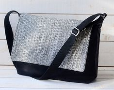 READY TO SHIP  Black Messenger bag with crossbody strap by ikabags