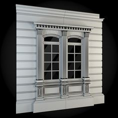 Buy Wall 034 by ThemeREX on High quality polygonal model of a building wall. Classic House Exterior, Classic House Design, House Outside Design, House Front Design, Exterior Window Molding, Classic Window, Window Grill Design, House Trim, Bungalow House Design