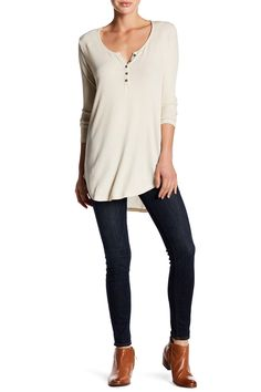 5bb6995c8f32f Hi-Lo Ribbed Henley by Abound on  nordstrom rack Shirt Blouses