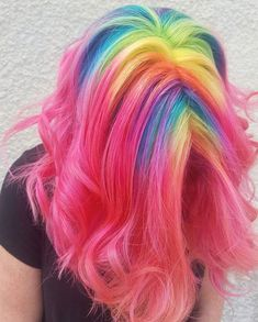 Best Hairstyles & Haircuts for Women in 2017 / 2018 : 21 Rainbow Hair Styles to Look Like a Unicorn Medium Hair Length with the Ra Pretty Hair Color, Beautiful Hair Color, Dye My Hair, New Hair, Cool Hair Dyed, Pelo Multicolor, Medium Hair Styles, Long Hair Styles, Hair Dye Colors