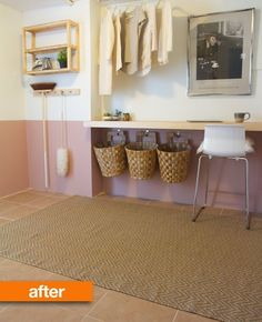 Before & After: A Catch-All Laundry Room Gets Beautiful and Functional from #apartmenttherapy